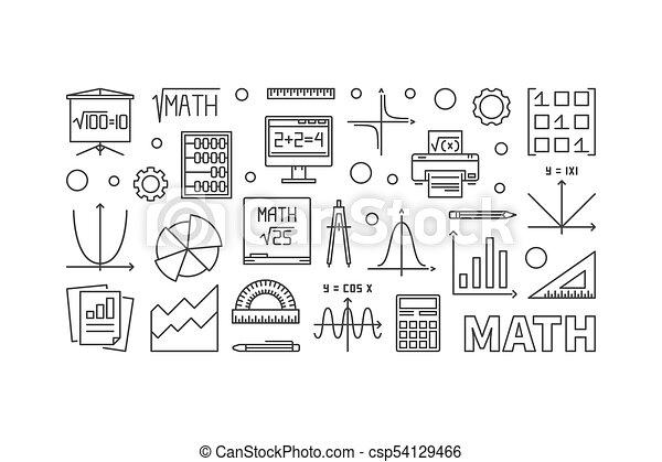 Math education concept horizontal banner. vector ...
