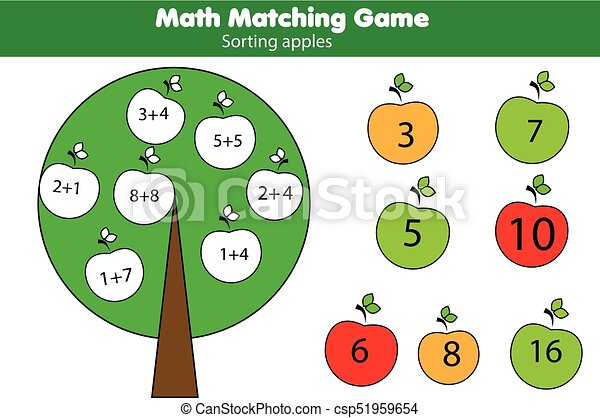 Math educational game for children. Matching mathematics activity. Counting game for kids, addition - csp51959654