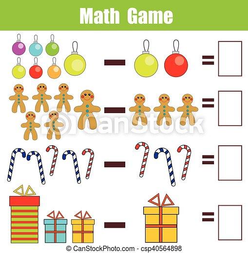 Math educational game for children, subtraction worksheet, christmas ...