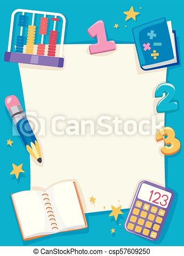 Math Paper Objects Frame Background Illustration Background
