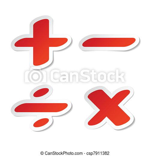 Math Symbols Stickers Vector Illustration Vector Illustration