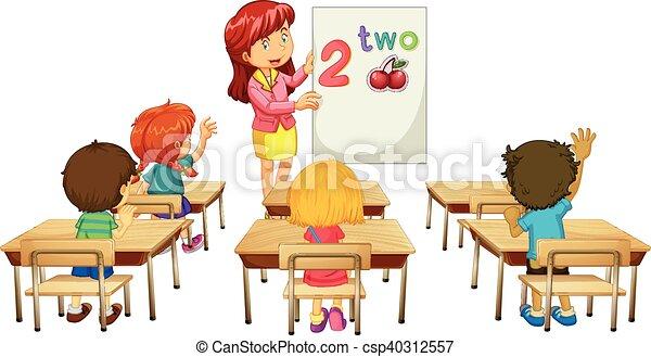 Math teacher teaching children in class - csp40312557