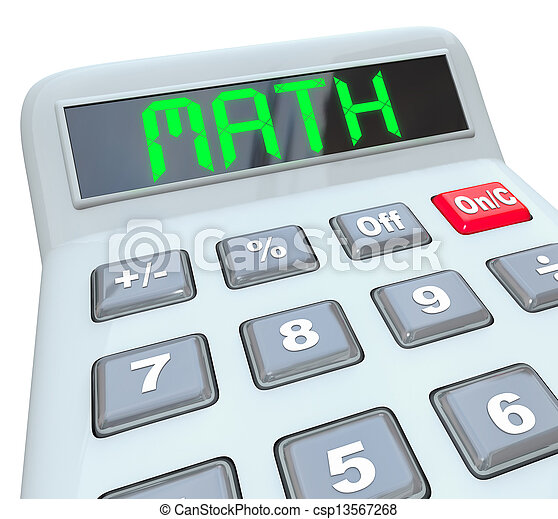 Math - word on calculator for mathematics figuring answer. The word ...