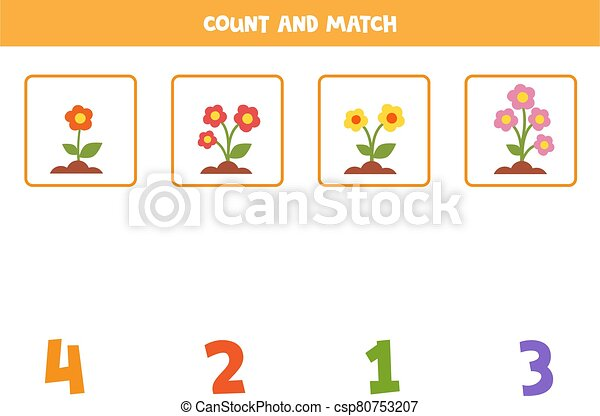 Math Worksheet For Kids. Counting Game With Cute Cartoon Colorful Flowers.  Count The Amount Of Flowers And Match With Written CanStock