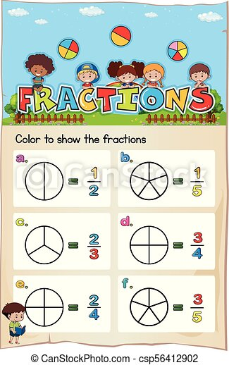 Math Worksheet Template For Color The Fraction Illustration Vector
