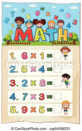 Math Worksheet Template With Kids And Multiplication  Vectors