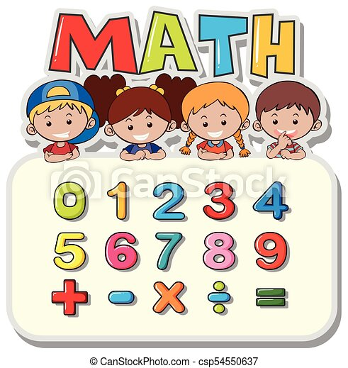 Math worksheet with kids and numbers illustration.