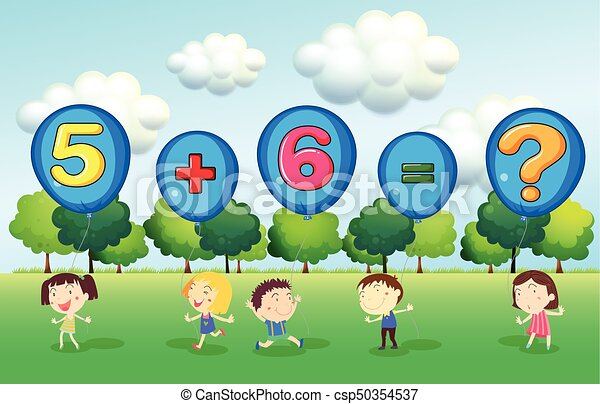 Math worksheet with kids in park illustration vectors - Search Clip ...