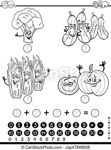 Mathe, arbeitsblatt, färbung, aktivität. Mathematisch, erzieherisch ...