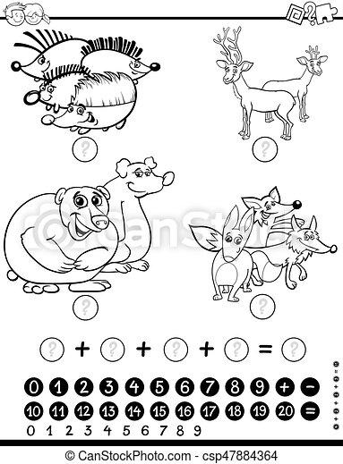 Mathe, arbeitsblatt, färbung. Mathematisch, erzieherisch, färbung ...