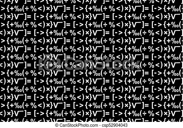 Mathematical Symbols Black And White Vector Pattern