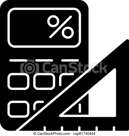 Mathematics black glyph icon - csp81740444