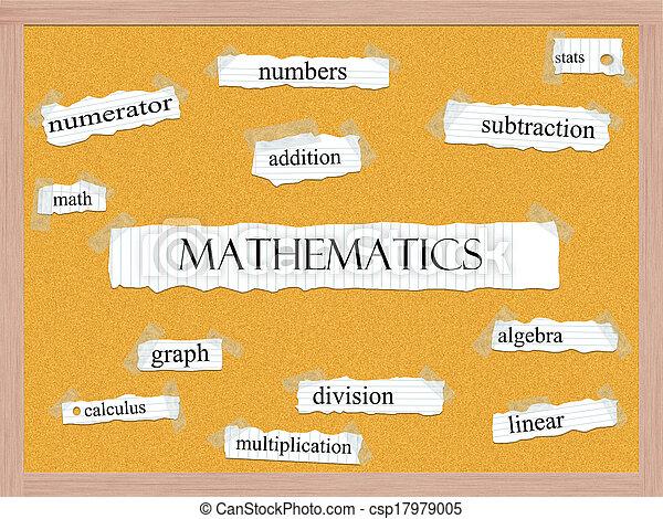 Mathematics Corkboard Word Concept - csp17979005