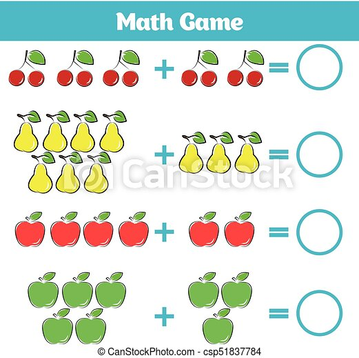 Mathematics educational game for children. learning... vector ...