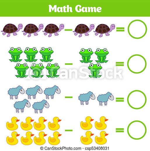 Mathematics educational game for children. learning... vectors ...