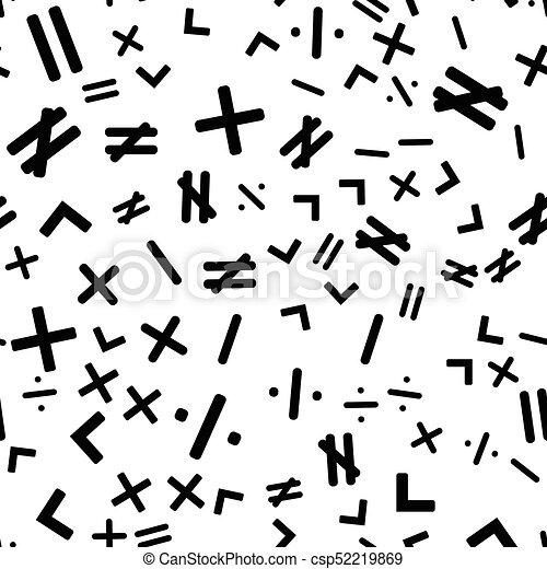 Mathematics Seamless Pattern Background With Different Math Symbols