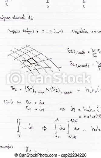 Mathematics Surface Integration Equations And Diagram For Math