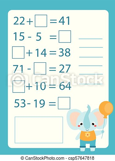 Mathematics worksheet. educational game for children. Learning counting.  Addition and subtraction for kids and toddlers