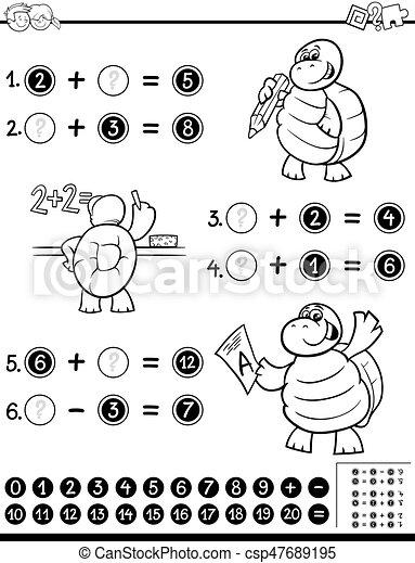 Mathematisch, arbeitsblatt, farbton- buch. Mathematisch ...
