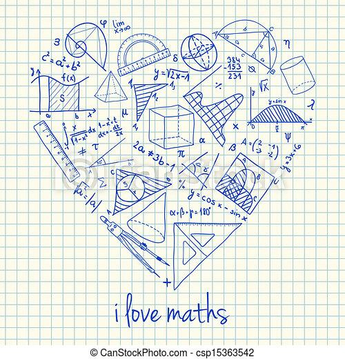 maths, forme coeur, dessins - csp15363542