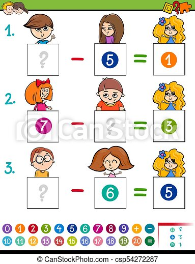 Maths subtraction game with kid characters. Cartoon... vector ...