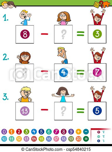 Maths subtraction game with kid characters. Cartoon... vector clip ...