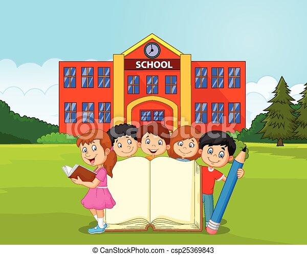matita, bambini, libro, cartone animato - csp25369843