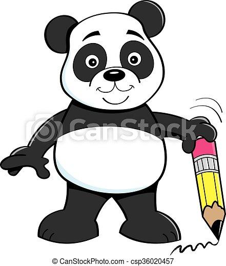 Matita cartone animato orso panda presa a terra illustrazione
