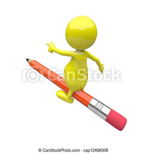 matita, cavalcata, 3d, persone - csp12468308