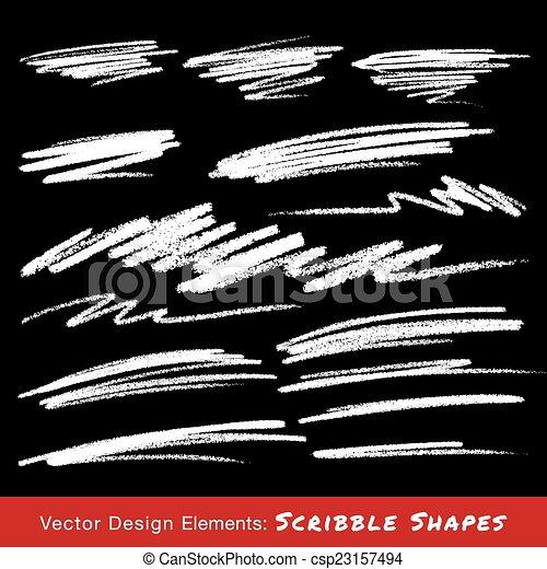 matita, mano, smears, disegnato, bianco, scarabocchio - csp23157494