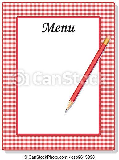 matita, percalle, assegno, menu, cornice - csp9615338