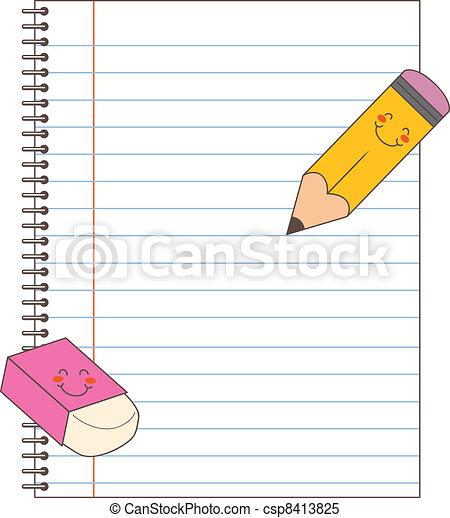 matita, quaderno, gomma - csp8413825