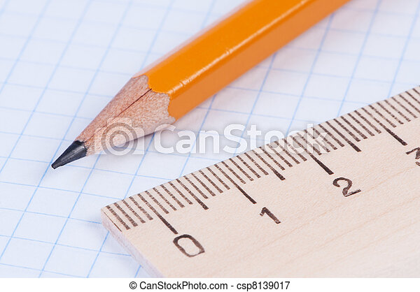matita, righello, closeup. - csp8139017