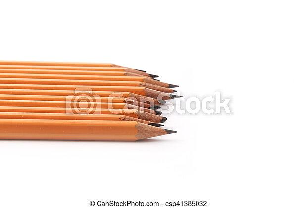 matite, ardesia, isolato, sfondo nero, bianco - csp41385032