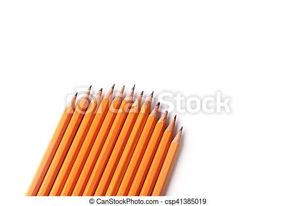 matite, ardesia, isolato, sfondo nero, bianco - csp41385019