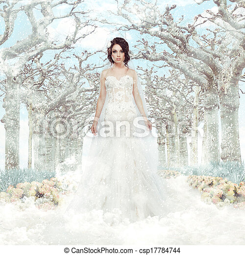 matrimony., fantasy., hiver, surgelé, sur, arbres, mariée, robe blanche, flocons neige - csp17784744
