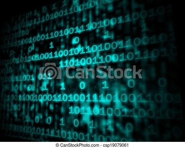 Matrix Code Copyspace Showing Digital Numbers Programming Background - csp19079061