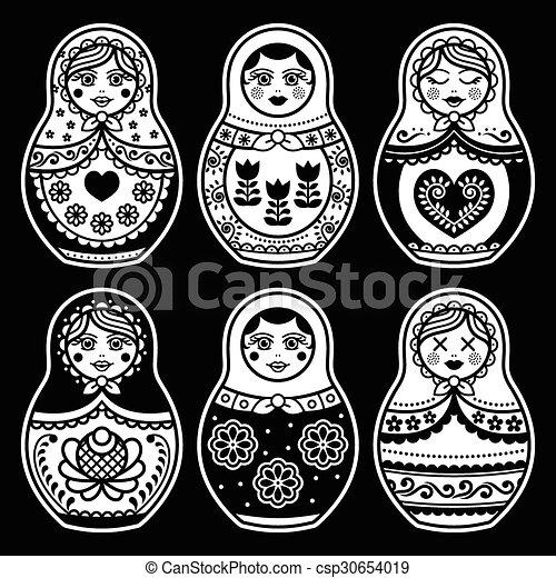 Matryoshka, Russian doll white icon - csp30654019