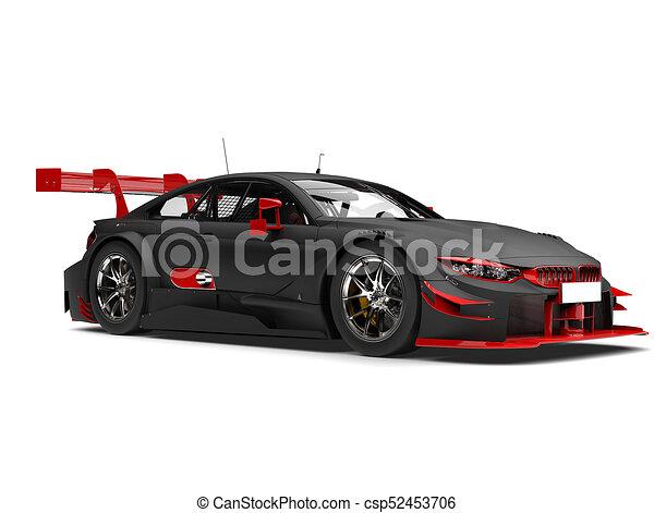 Matte Black Racing Super Car With Red Details