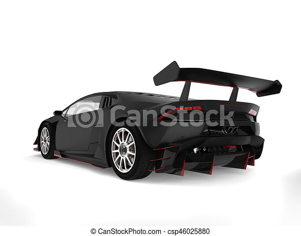 Matte Black Sports Car With Red Details   Back View Stock Illustration Photo Gallery