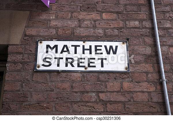 Matthew Street Sign, Liverpool - csp30231306