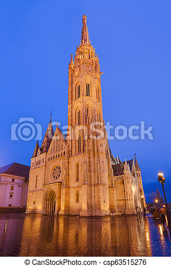Matthias Church and Fisherman Bastion in Budapest Hungary - csp63515276