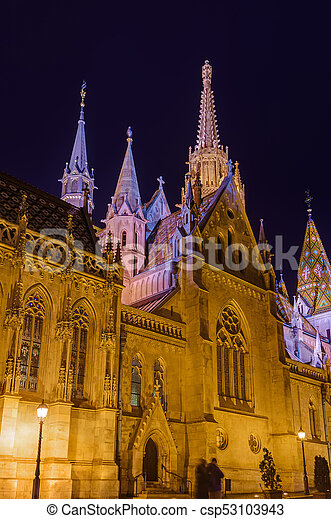 Matthias Church and Fisherman Bastion in Budapest Hungary - csp53103943