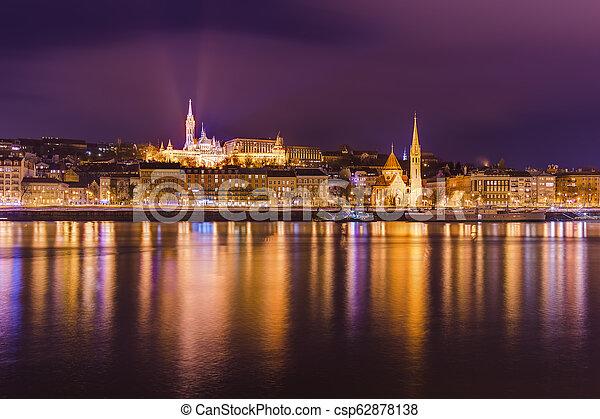 Matthias Church and Fisherman Bastion in Budapest Hungary - csp62878138