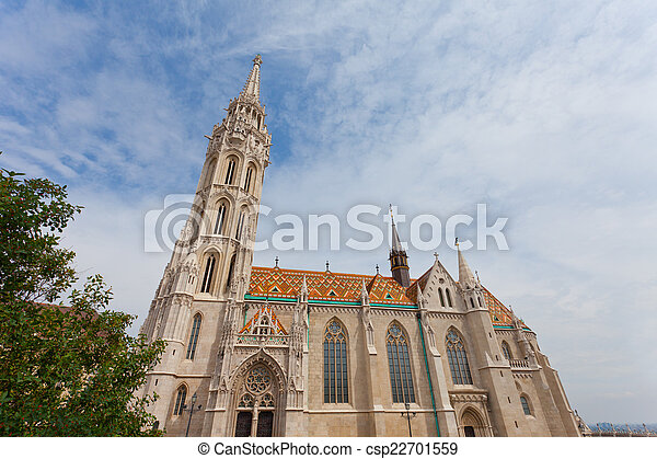 Matthias Church at Buda Castle in Budapest, Hungary - csp22701559