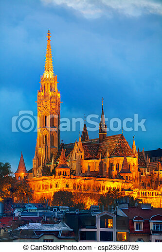 Matthias church in Budapest, Hungary - csp23560789