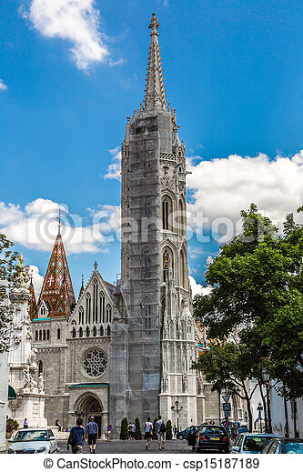 Matthias Church in Budapest in a sunny day - csp15187189