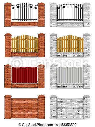 mattone, vettore, recinto, illustrazione - csp53353590