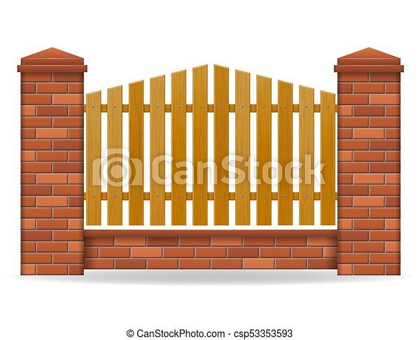mattone, vettore, recinto, illustrazione - csp53353593
