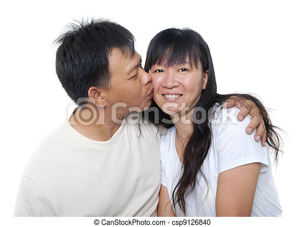 Asian mature kissing